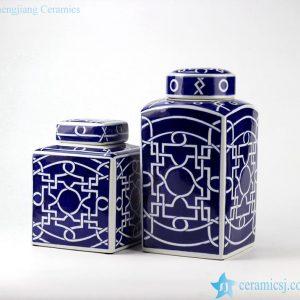 RYPU40 Geometric pattern unique design dark blue and white ceramic square jar in pair