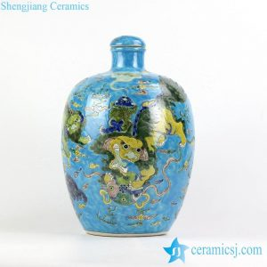 RYQQ54 blue ground famille rose hand paint Chinese fancy lions playing with silk ball pattern ceramic vase with lid