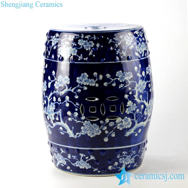 blue and white winter sweet pattern ceramic stool