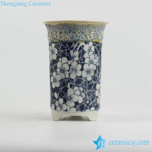 RYYF31-a foam glaze top blue and white blossom pattern pottery type flower pot