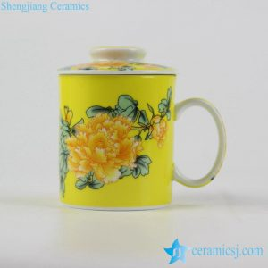 RYYY40-A Yellow ground peony flower mark ceramic mug with lid