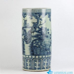 RYZK11 crude clay antique style hand paint phoenix pattern blue and white umbrella stand