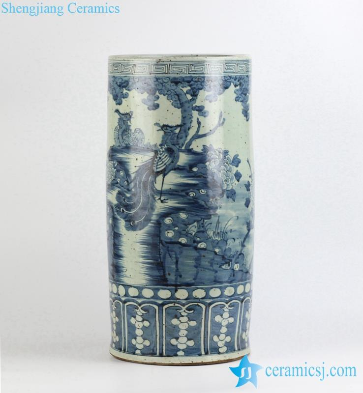 Blue And White Hand Paint Phoenix Pattern Ceramic Umbrella Stand