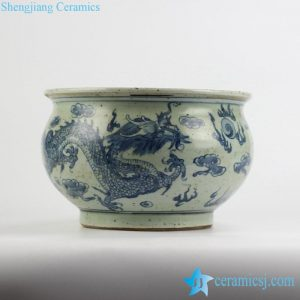 RYZK12 crude clay reproduction style Chinese traditonal royal fire dragon pattern ceramic pot