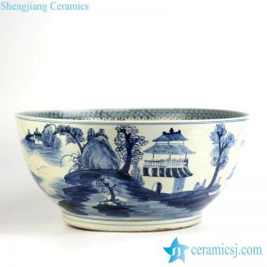 RZFH07 Blue and white hand paint airy pavilions and pagodas pattern plump ceramic bowl