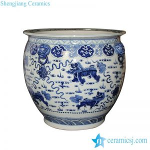 RZFH09 Blue and white hand paint Chinese lions play with silk balls pattern fancy large ceramic outdoor fish bowl