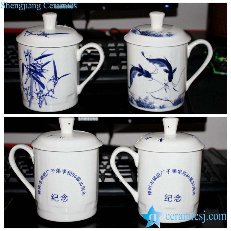 blue and white office ceramic mug