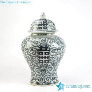 RYLU93 Blue and white double happiness vintage flavor ceramic ginger jar