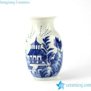 RYLU94 Hand paint pagoda pattern ceramic blue and white vase for home decor collector