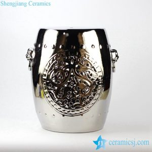 RYNQ177-C Lion drum nail carved pattern silver plated bar stool