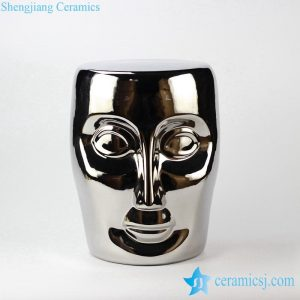 RYNQ55-B Smooth surface silver human face ceramic stool