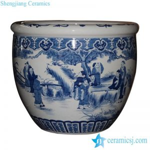 RYUC05 Hand paint literary man of ancient China pattern under glaze blue porcelain large outdoor fish pond