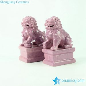 RYXP21-M Cream pink glaze ceramic lion figurine for pair