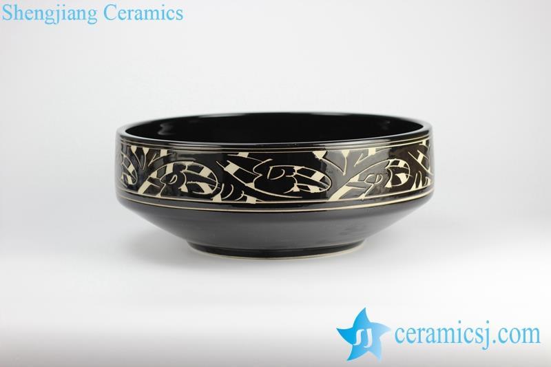 Pottery style engraved ceramic wash basin sink bowl