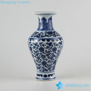 RZFU01 Floral blue and white Jingdezhen Jiangxi factory outlet porcelain vase in cheap price