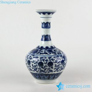 RZFU02 Bamboo joint design wide curled rim blue and white floral porcelain vase made in China