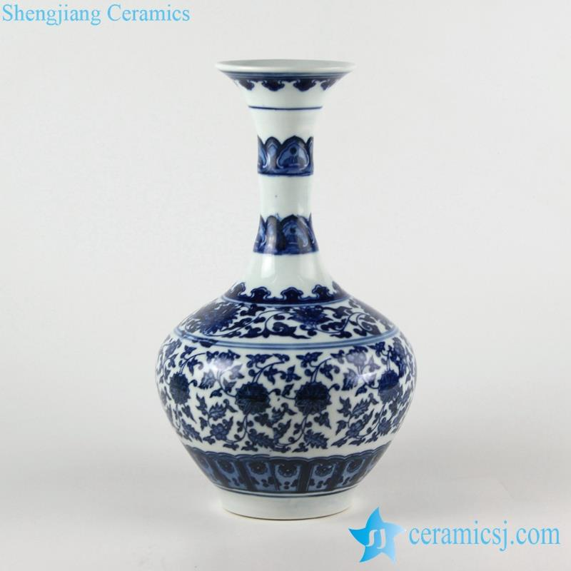 Bamboo joint long neck floral blue and white ceramic vase