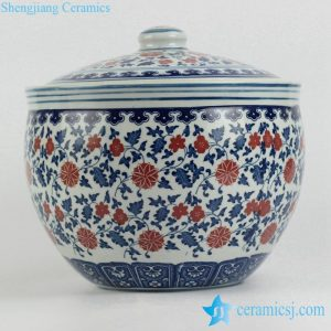 RZFU15-A Low price Blue and white red floral big porcelain storage jar with lid