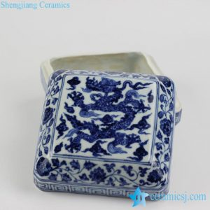 RZHL05-B antique style blue and white Chinese dragon totem pattern ceramic ink pad
