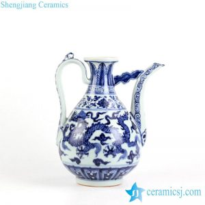 RZHL07 Chinese blue and white hand paint dragon pattern wine pot