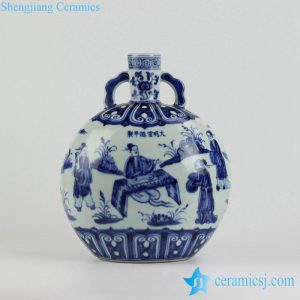 RZHL10 Ming Dynasty vintage big round body blue and white hand paint intellectual pattern ceramic flower vase with two handles