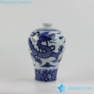 RZHL12 Hand paint blue and white dragon pattern ceramic jug vase