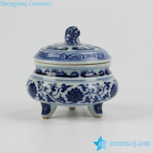 RZHL14 Antique style blue and white floral tripod ceramic censer burner
