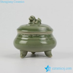 RZHL15-A Tripod grass green glaze antique chinaware censer thurible