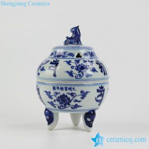 RZHL18-A Foo dog lid elegant blue and white porcelain fragrance oil burner
