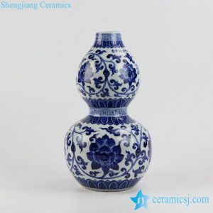 RZHL20 Bottle gourd shape blue and white hand paint lotus ceramic vase