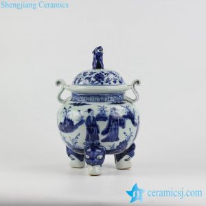 RZHL22 Unique design hand paint ancient Chinese folk pattern three feet blue ceramic incense stove