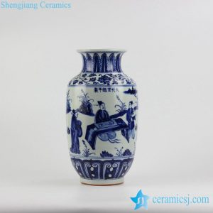 RZHL23 New arrival hand paint China style Confucius pattern blue and white ceramic vase