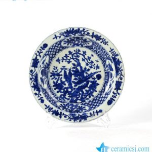 RZHL24 Floral bird pattern hand paint long diameter blue ceramic platter