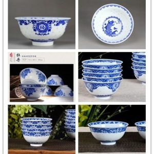 RZHX01-A/B/C/D/E/F/G Jingdezhen China unique rice pattern blue and white ceramic bowl