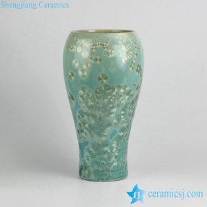 RZIW02 Tall crystaline glaze sapphire color diamond ceramic vase in cheap price