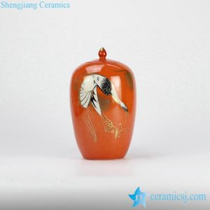 RZJD01-1 Japan style scarlet background gold pleated crane pattern ceramic candle jar