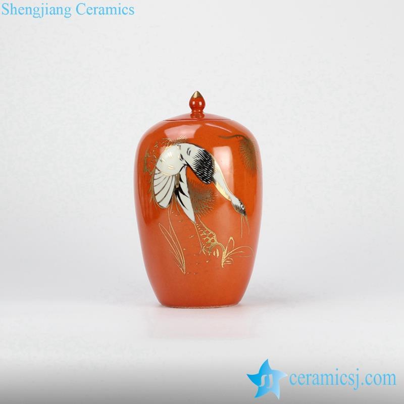 Exhibition scarlet crane pattern ceramic candle jar