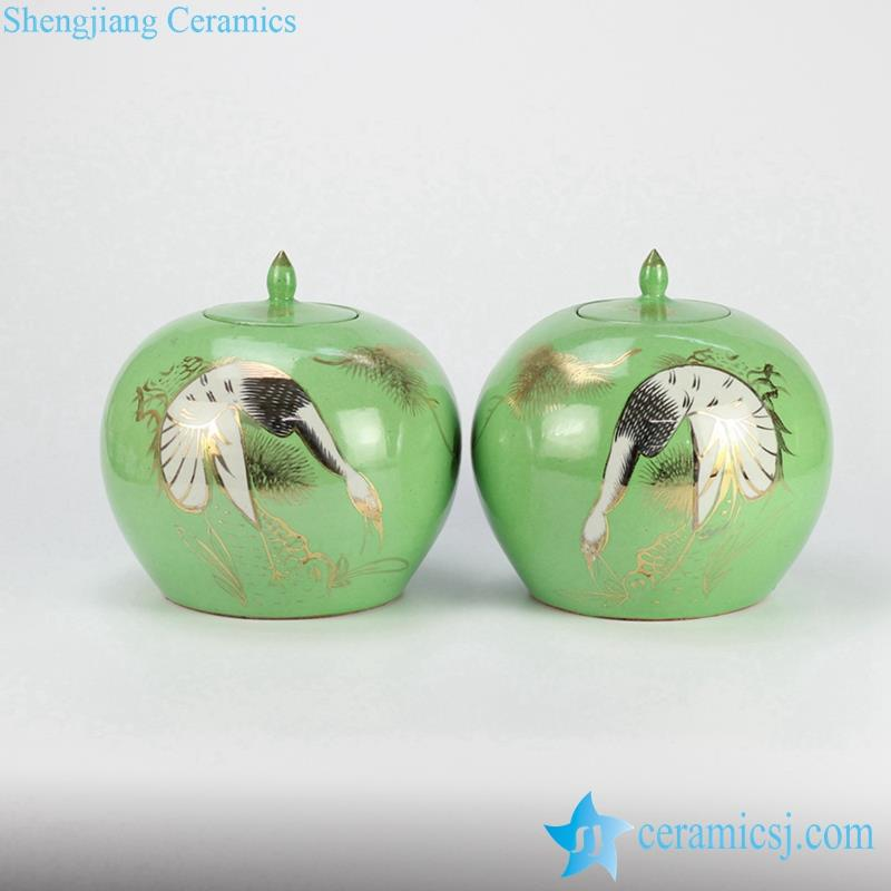 Green ceramic candle jar