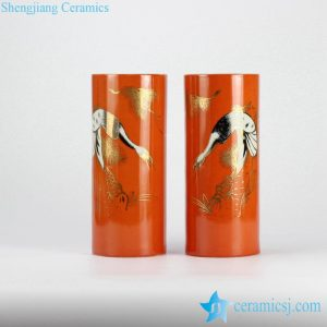 RZJD04-4 Vertical tube shape China red golden pleated crane ceramic couple vase for wedding