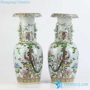 RZJF01 Hand paint famille rose phoenix floral pattern ceramic wedding vases