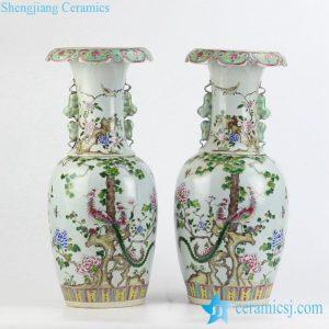 RZJF01 Hand paint famille rose phoenix floral pattern ceramic wedding vases
