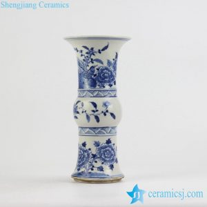 RZJG01 Hand paint blue and white bird floral pattern wide open top mouth ceramic flower vase