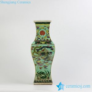 RZJH01 Qing Dynasty reproduction hand paint phoenix pattern ceramic square fish tail vase