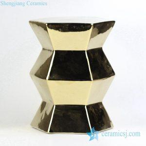 RYIR118 Wholesale price zigzag shape line gold ceramic unique furniture stool