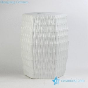 RYJF12 Pure white new arrival bamboo knitting style ceramic stool