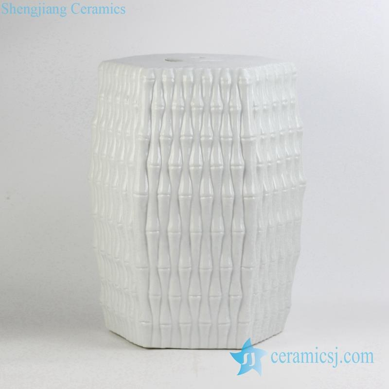 bamboo weaving style pure white Jingdezhen porcelain stool