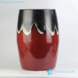 RYKB147 Joint black and red color glaze ceramic drum stool