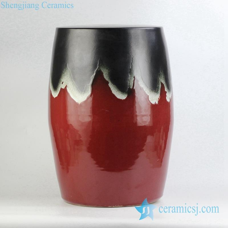 transitional glaze red and black ceramic stool