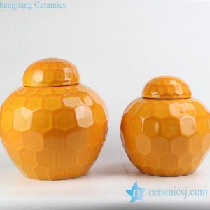 RYKB149 Mustard plain color hexagon design ceramic mini storage jar