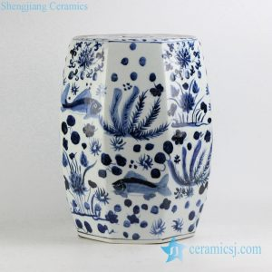 RYNQ195 Hexagon shape blue and white hand paint fish and water weed pattern Jingdezhen porcelain bathroom stool